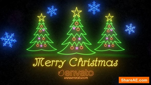 Videohive Neon Light Christmas