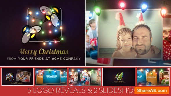 Videohive Christmas Lights Logo & Slideshow