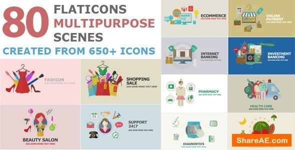 Videohive Flat Icons Multipurpose Scenes