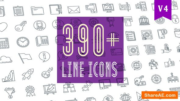 Videohive Line Icons Pack 390 Animated Icons