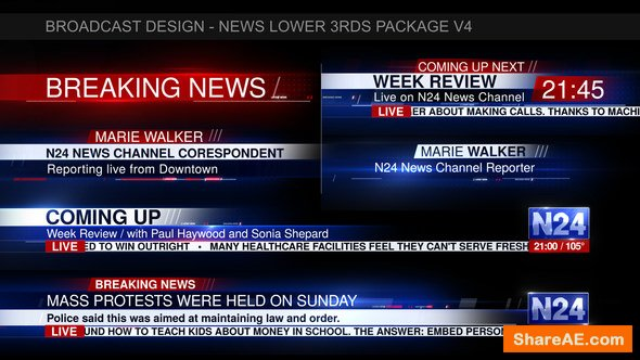 Videohive Broadcast Design - News Lower 3rds Package V4