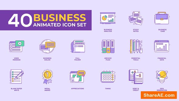 Videohive 40 Animated Business Icon Set