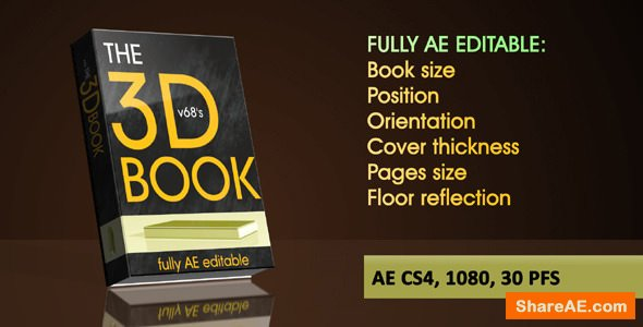 Videohive 3d Book on Reflecting Floor with Flipping Pages