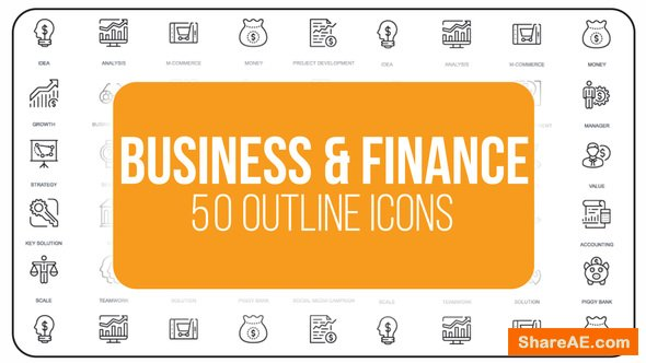 Videohive Business And Finance - 50 Thin Line Icons