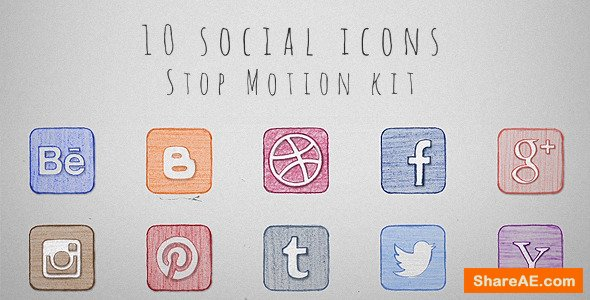 Videohive Social Icons Stop Motion Kit
