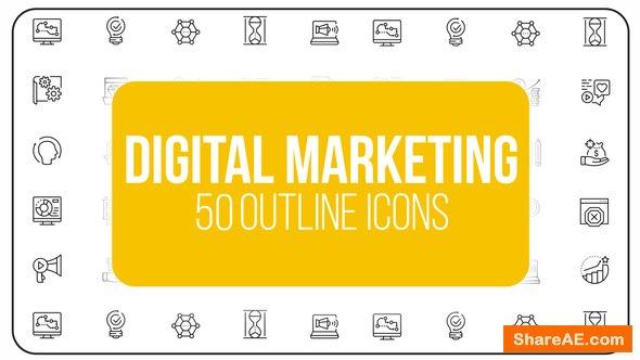 Videohive Digital Marketing - 50 Thin Line Icons