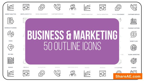 Videohive Marketing and Business - 50 Thin Line Icons