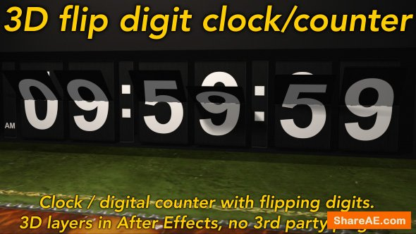 Videohive Flipping Clock - 3D counter with split flap / flip digit numbers