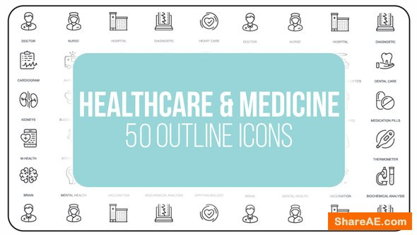 Videohive Healthcare And Medicine - 50 Thin Line Icons