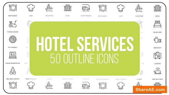 Videohive Hotel Services - 50 Thin Line Icons