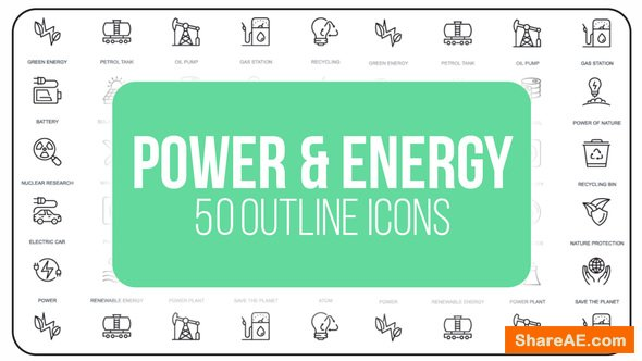 Videohive Power And Energy - 50 Thin Line Icons