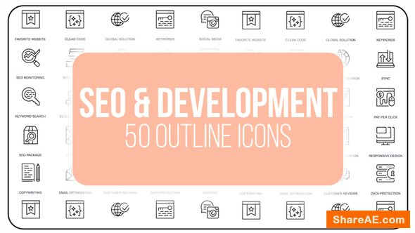 Videohive Seo Optimization - 50 Thin Line Icons