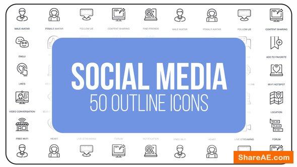 Videohive Social Media - 50 Thin Line Icons