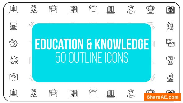 Videohive Education & Knowledge - 50 Thin Line Icons