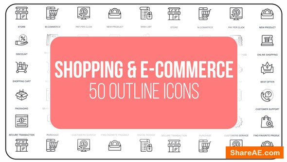 Videohive Shopping And Ecommerce - 50 Thin Line Icons