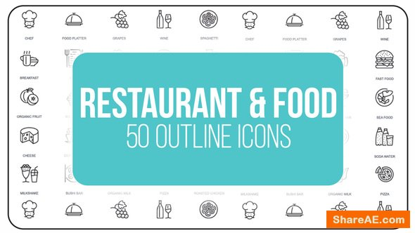Videohive Restaurant and Sport - 50 Thin Line Icons