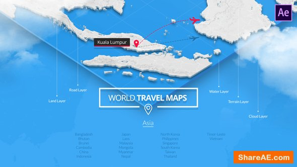 Videohive World Travel Maps - Asia