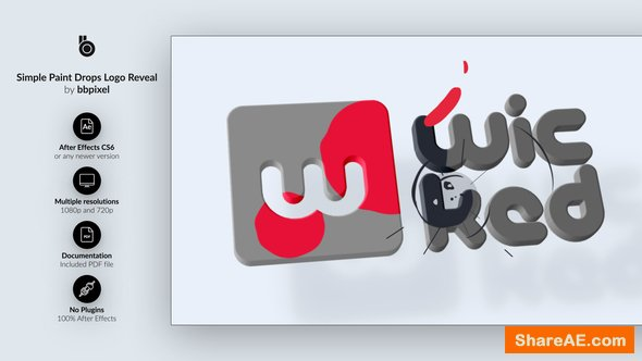 Videohive Simple Paint Drops Logo Reveal