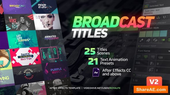 Videohive TypeX - Text Animation Tool | Broadcast Pack: Modern Colorful Typography Titles v2.0.3