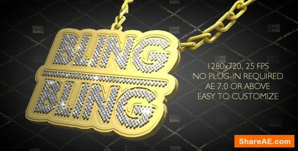 Videohive Hip-Hop Style Bling-Bling 3D Pendant on Chain