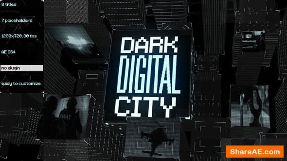Videohive Dark Digital City Titles
