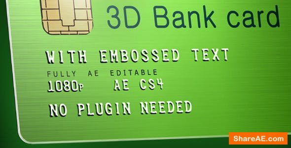 Videohive 3D Bank Card with Embossed Text