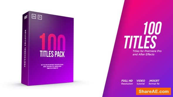 Videohive 100 Titles Pack - PREMIERE PRO