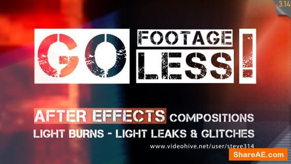 Videohive Go Footageless! - Light Burns & Glitch AE comps