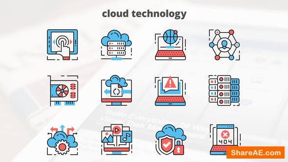 Videohive Cloud Technology – Thin Line Icons