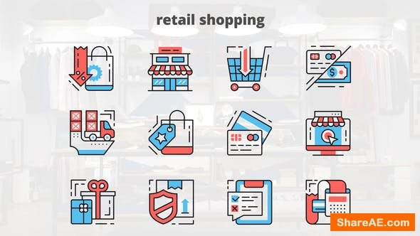Videohive Retail Shoping – Thin Line Icons