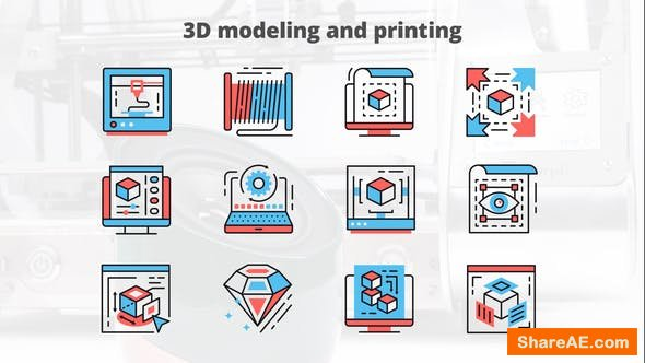 Videohive 3d Modeling And Printing – Thin Line Icons