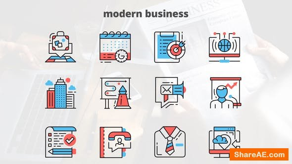Videohive MODERN BUSINESS – Thin Line Icons