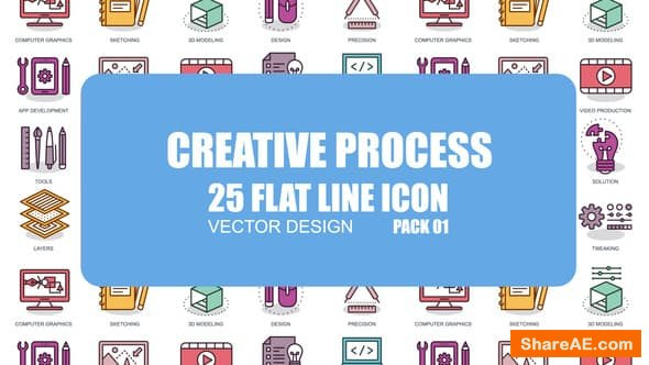 Videohive Creative Process - Flat Animation Icons