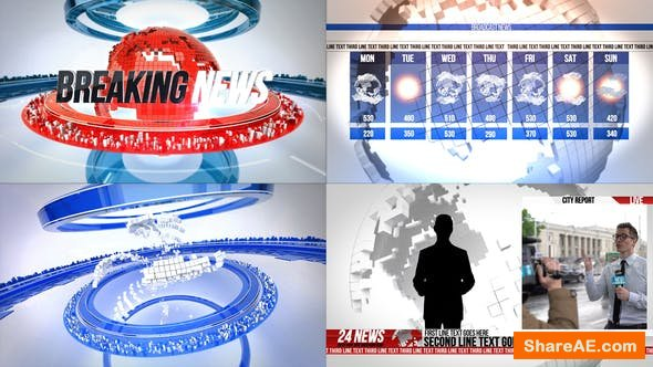 Videohive 24 Broadcast News Complete TV Package - Premiere Pro