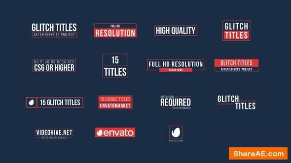 Videohive 15 Glitch Titles - Premiere Pro