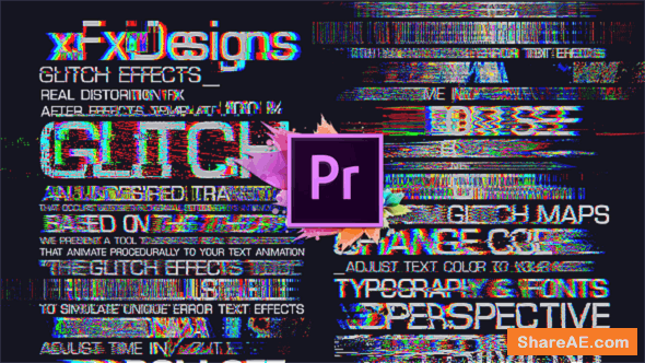 Videohive 30 Glitch Text Presets For Premiere Pro | Mogrt