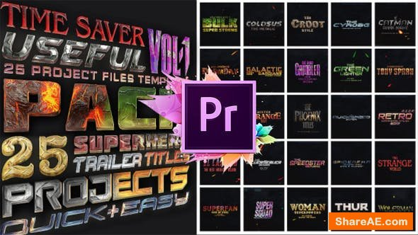 Videohive 25 SuperHero Titles Pack For Premiere Pro | Mogrt