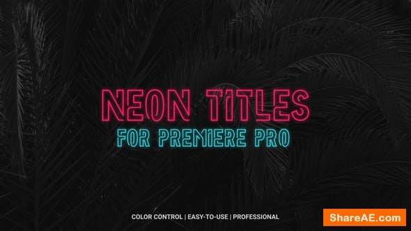 Videohive Neon Titles - Premiere Pro