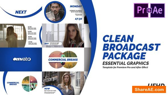Videohive Clean Broadcast Pack | Essential Graphics | Mogrt