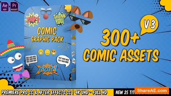 Videohive Comic Titles - Speech Bubbles - Emoji - Stickers - Flash FX Graphic Pack