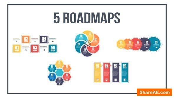Videohive 5 Roadmaps Templates - Set Three