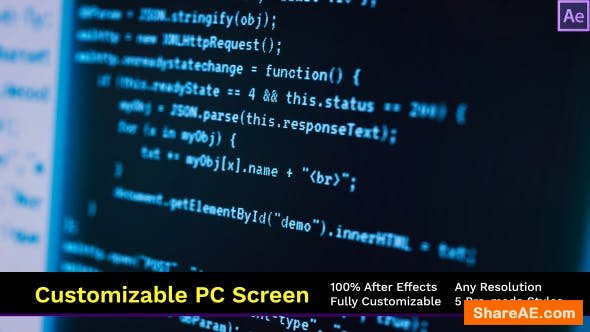 Videohive Customizable Computer Screen Codes