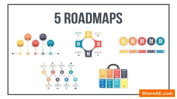 Videohive 5 Roadmaps Templates - Set One