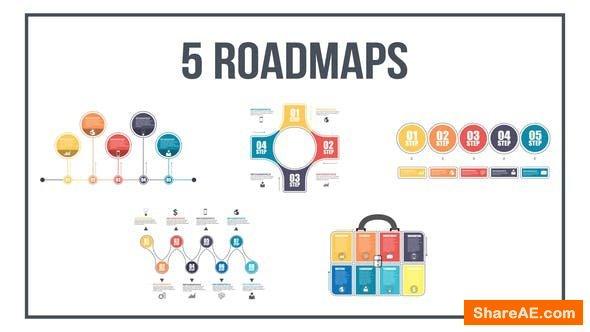 Videohive 5 Roadmaps Templates - Set One
