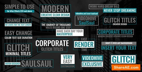 Videohive Glitch Corporate Titles