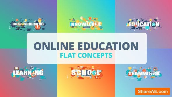 Videohive Online Education - Typography Flat Concept