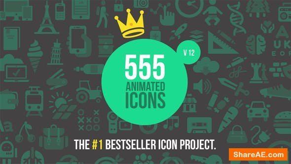 555 Animated Icons Version 12 - After Effects Project (Videohive)