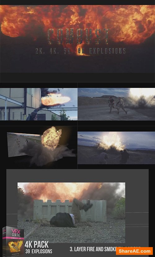 Combust 4K Fire Explosions Pack - VfxCentral » free after effects