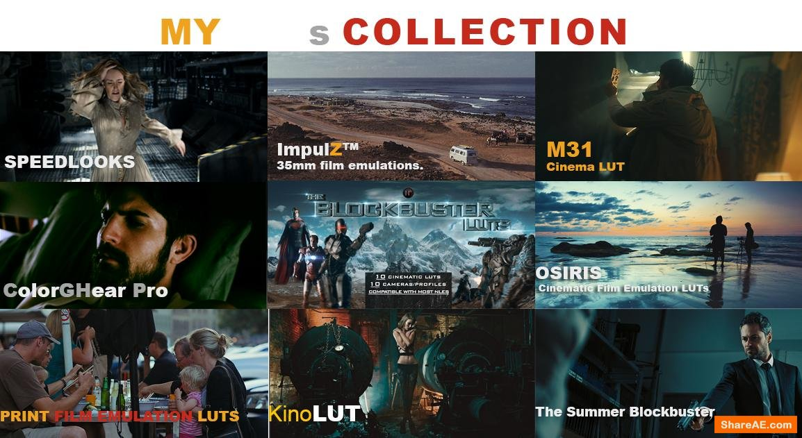 LUTs Collection: VisionColor - ImpulZ / KinoLUT by Cineplus / ColorGHear Pro/ Osiris etc..