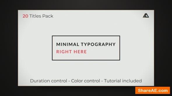 Videohive Elegant Minimal Titles Pack
